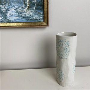 West Elm Vase Tall Cylinder Off White Ceramic